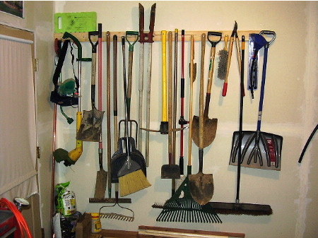organized lawn care tools